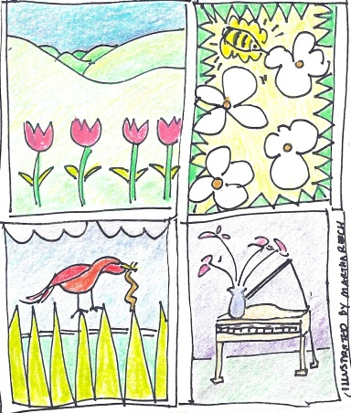 Spring Recital. Illustration by Martha Reich.